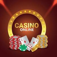 Casino vip gambling game with chips, cards and dice and background vector