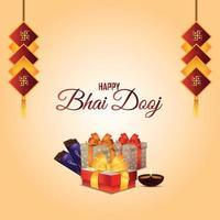 tarjeta de felicitación de celebración de bhai dooj con regalos creativos y dulces vector