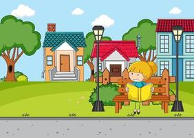 Front house scene with a girl reading book sitting on bench vector