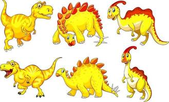 Set of yellow dinosaur cartoon character vector