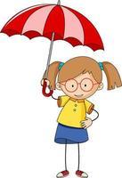 Cute girl holding umbrella doodle cartoon character isolated vector