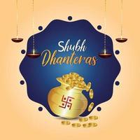 feliz tarjeta de felicitación de celebración de dhanteras con olla de monedas de oro creativa y diwali diya vector