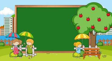 Empty blackboard in nature scene with many kids doodle cartoon character vector