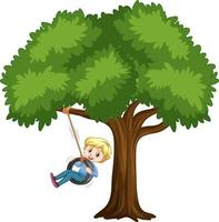 Kid playing tire swing under the tree on white background vector