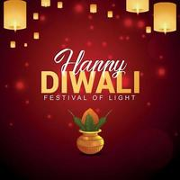 Happy diwali vector illustration and background with creative kalash and diwali lamp