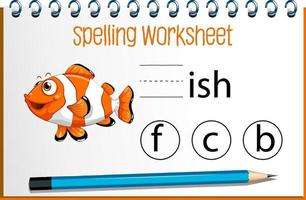 Find missing letter with cute fish vector