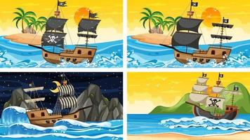 Set of ocean scenes at different times with Pirate ship in cartoon style vector