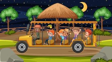 Safari at night scene with many kids in tourist car vector