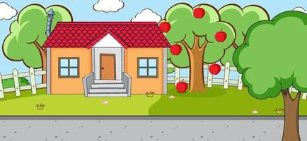 Outdoor scene with a house and an apple tree vector