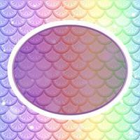 Plantilla de marco ovalado sobre fondo de escamas de pescado de arco iris pastel vector