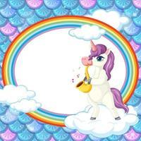 Banner ovalado de arco iris con personaje de dibujos animados de unicornio sobre fondo de escamas de pez arcoíris vector