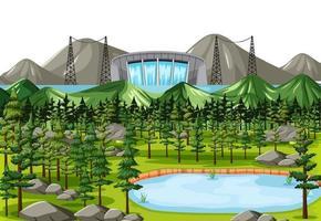 Scene with water dam background vector