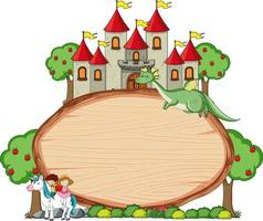 Blank wooden banner with fairy tale cartoon character and elements isolated vector