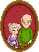 imagen de los abuelos en marco de madera vector