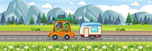 Roadtrip in the beautiful scenic view vector