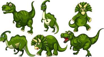 Set of green dinosaur cartoon character vector