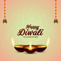 Happy diwali indian festival greeting card with diwali diya vector