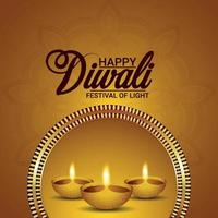 Happy diwali realistic vector illustration and background