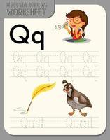 hoja de trabajo de rastreo alfabético con las letras q y q vector