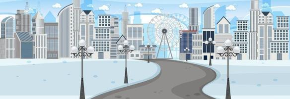 Horizontal scene at day time with long road through snow park into the city vector
