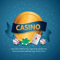 Realistic casino background with creative gold coin , playing cards, and casino chips vector