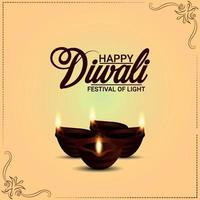 Happy diwali invitation greeting card with creative diya vector