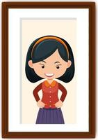 Portrait of a girl in a photo frame vector