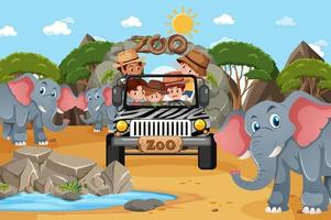Safari scene with kids on tourist car watching elephant group vector