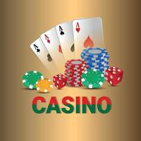 Casino vip luxury gambling game with chips, cards and dice vector