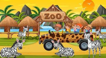 Safari en la escena del atardecer con niños viendo grupo de cebras vector