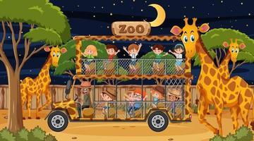 Safari at night scene with many kids watching giraffe group vector