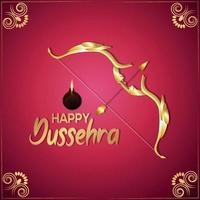 Happy dussehra indian festival celebration greeting card with vector golden bow and arrow