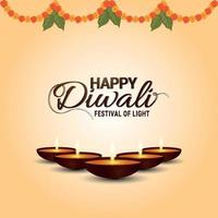The festival of light happy diwali celebration greeting card with garland flower and diwali diya vector