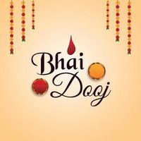 Tarjeta de felicitación de celebración del festival indio bhai dooj con fondo creativo vector