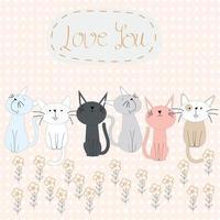 lindos 6 gatos en spring garden vector