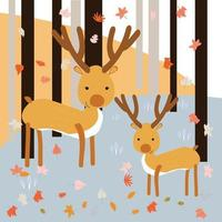 Mother and son deer in the spring forest vector