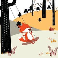 Baby fox plays swing in the spring forest vector