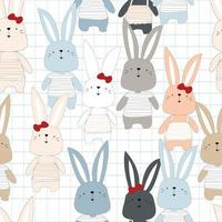 Cute Rabbit boy and girl pattern vector