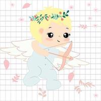Cute angle cartoon in spring theme vector