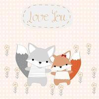 Baby boy and girl fox cute animal in the garden vector