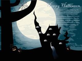 Halloween night castle vector