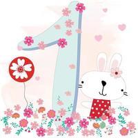 1st birthday card, rabbit in the garden vector