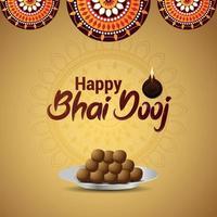 Feliz tarjeta de felicitación de celebración de bhai dooj con ilustración creativa de dulces vector