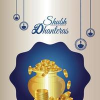 Tarjeta de felicitación de celebración del festival indio de dhanteras feliz con olla de monedas de oro vector