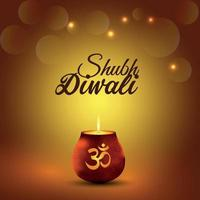 Creative illustration of happy diwali celebration greeting card with creative glowing light pot vector