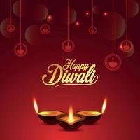 feliz diwali la tarjeta de felicitación de celebración del festival de la luz con diwali diya creativo vector