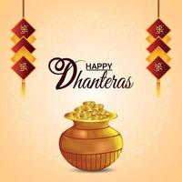 Creative vector illustration of shubh dhanteras celebration greeting card with creative gold coin pot