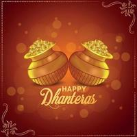 Happy dhanteras indian festival celebration greeting card with gold coin pot vector