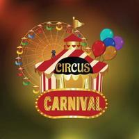 Circus carnival party background with circus tent house vector