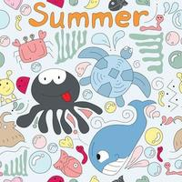 lindo, divertido, caricatura, playa, animal, seamless, patrón vector